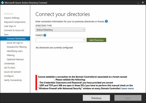Microsoft Azure Active Directory Connect Wizard - Connect your directories screen (click for original screenshot)