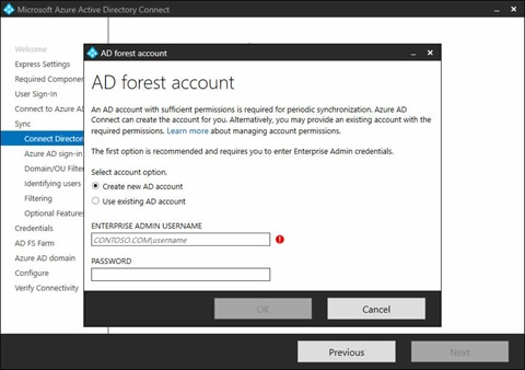 Microsoft Azure Active Directory Connect Wizard - AD forest account dialog (click for original screenshot)