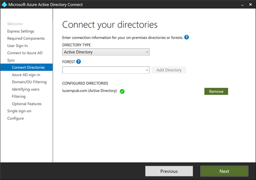 Connect your directories in Azure AD Connect (click for original screenshot)