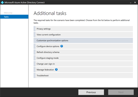 Customize Synchronization Options in Azure AD Connect (click for original screenshot)