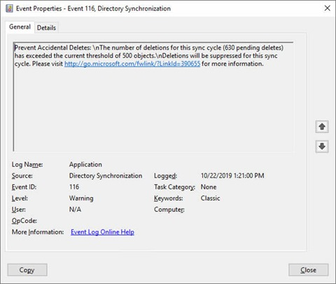 EventID 116 with source Directory Synchronization (click for original screenshot)