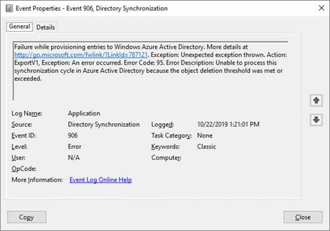 EventID 906 with source Directory Synchronization (click for original screenshot)