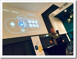 Erwin talking about Azure Active Directory Domain Services (click for larger photo by organization)