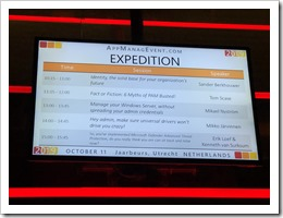 The schedule for room Expedition (click for larger photo)