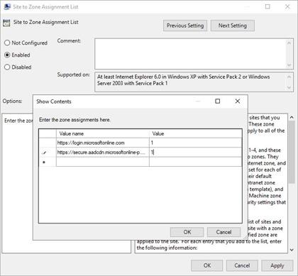 Adding Hybrid Identity Sites to the Local Intranet Zone (click for original screenshot)