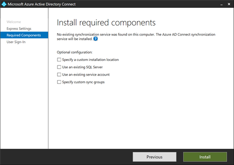 Install Required Components for Azure AD Connect (click for original screenshot)