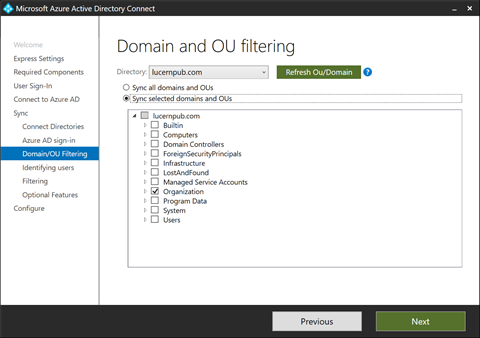 Domain and OU Filtering in Azure AD Connect (click for original screenshot)
