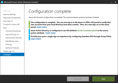 Configuration Complete for Pass-through Configuation (click for original screenshot)