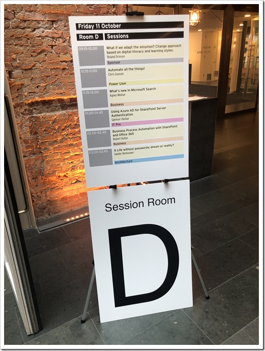Room D at Office 365 and SharePoint Connect 2019 (click for larger photo)