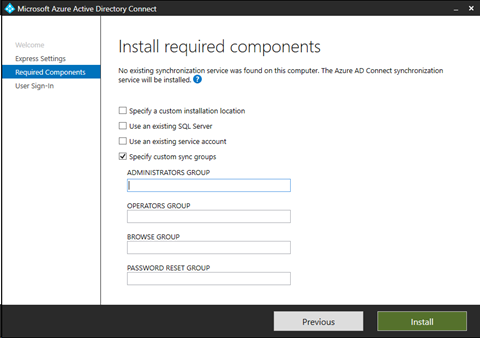 Azure Active Directory Connect Wizard - Specify custom sync groups during installation (click for original screenshot)