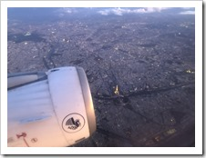 Flying over Paris and seeing the Eiffel Tower like that. Priceless (click for larger photo)