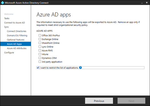 I Want To Restrict The List Of Applications on the Azure AD Apps page of Azure AD Connect (click for original screenshot)
