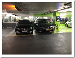 Parking spaces at Brussels. Two cars of the same model, although completely different specifications... (click for larger photo)