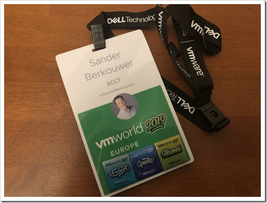 My 2019 VMworld badge, including the vExpert, Speaker and Alumni flair (click for larger photo)