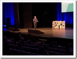 Alex Simons delivering the Identity Keynote at ESPC 19 (click for larger photo)