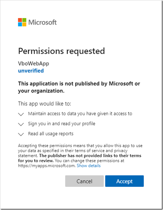 Consent prompt for the Office 365 Backup Sizing tool