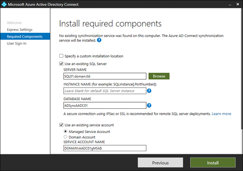 Specify the SQL Server specifics and service account for Azure AD Connect (click for original screenshot)