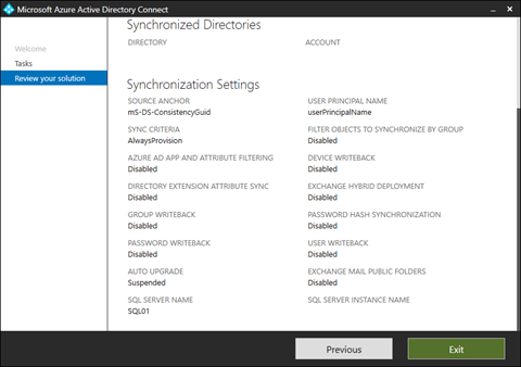 SQL Server Name and SQL Server Instance Name in the Azure AD Connect Wizard (click for original screenshot)