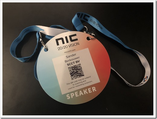 My NIC 20/20 Vision Speaker Badge (click for larger photo)