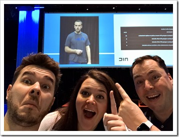 Dmitry, Kirsten and me spotting Marius Sandbu, a fellow Veeam Vanguard, on stage!