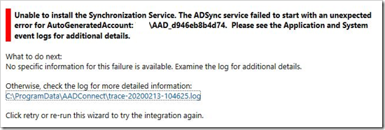 "Azure AD Connect ""The ADSync service failed to start with an unexpected error for AutoGeneratedAccount"""
