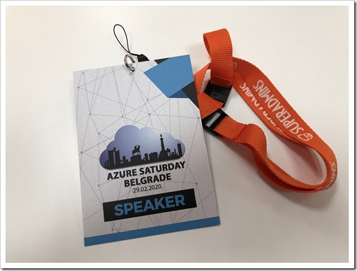 Azure Saturday Belgrade Speaker Badge (click for larger photo)