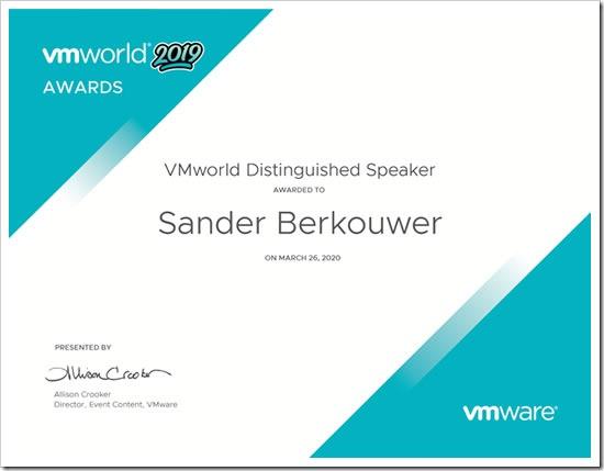 VMworld Distinguished Speaker 2019 Award