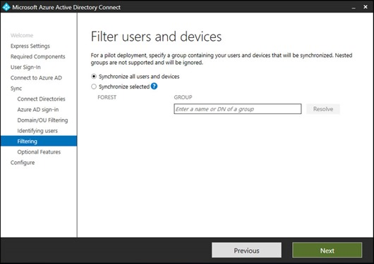 The Filter users and devices page of the Azure AD Connect wizard (click for larger screenshot)