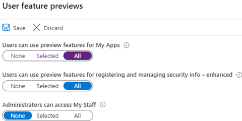 User Feature Previews - Toggle 'Users can use preview features for My Apps' (click for original screenshot)