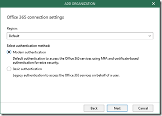 Veeam Backup for Office 365 - Office 365 connection settings (click for original screenshot)