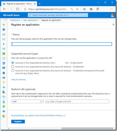 Register an application for Veeam Backup for Office 365 (click for original screenshot)