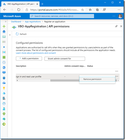 Veeam Backup for Office 365 API permissions (click for original screenshot)