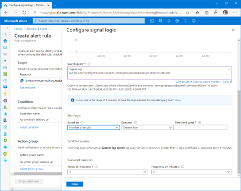 Configure signal logic for an alert that notifies when an Azure AD emergency access account is used (click for original screenshot)