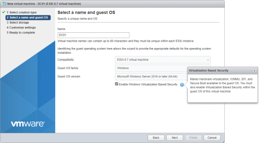 Enable Virtualization Based Security on the Select a name and guest OS page when creating a virtual machine in ESXi 6.7 (click for original screenshot)