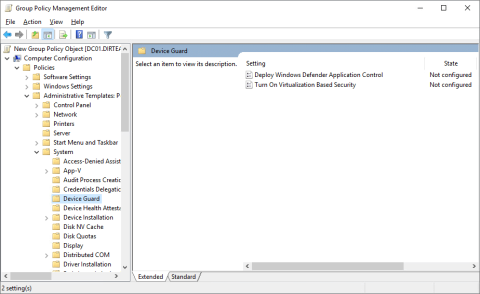 The Device Guard settings in Group Policy Management (click for original screenshot)