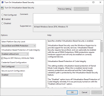 Turn on Virtualization Based Security Group Policy Settings (click for original screenshot)