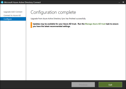 Azure AD Connect - Upgrade - Configuration complete