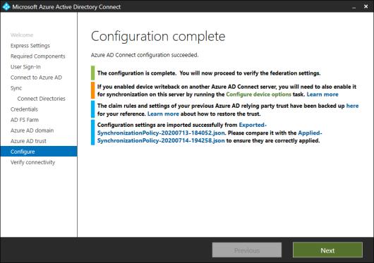 Azure AD Connect - Configuration Complete