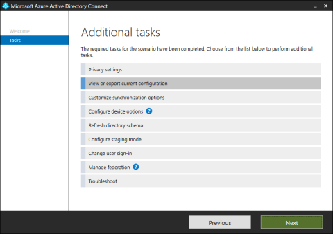 Azure AD Connect - Additional tasks - View or export current configuration