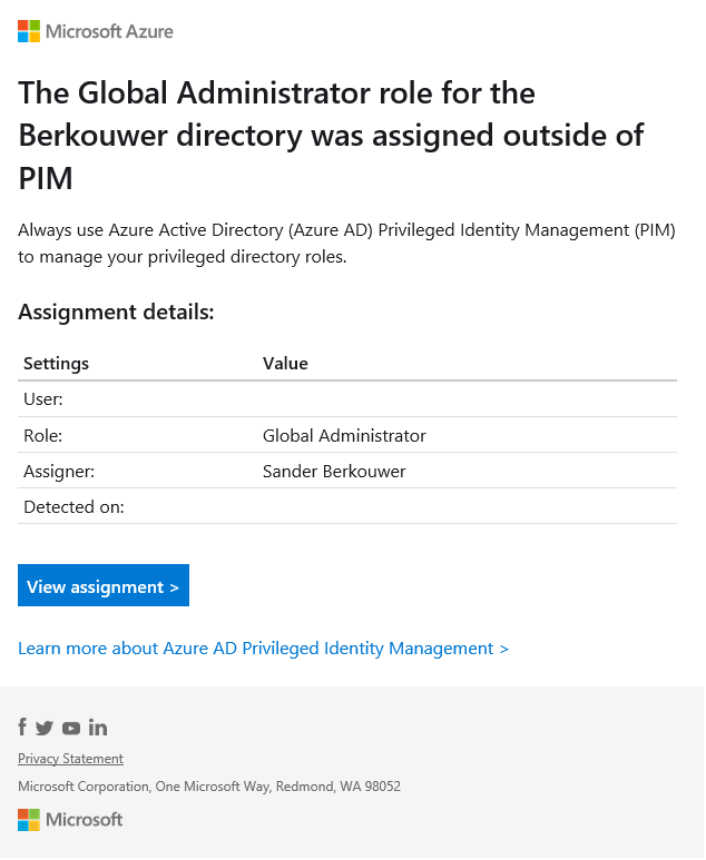 Howto Set An Alert To Notify When An Additional Person Is Assigned The Azure Ad Global Administrator Role The Things That Are Better Left Unspoken
