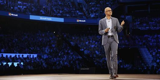 Satya Nadella on stage at Microsoft Inspire