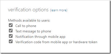 Verification Options in the old PhoneFactor portal experience