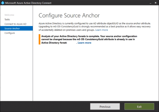 """Your source anchor configuration cannot be changed because the mS-DS-ConsistencyGuid attribute is already in use"" error on an Azure AD Connect Staging Mode server (click for original screenshot)"