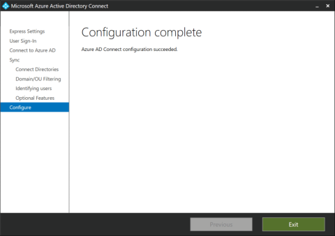 The Configuration complete page on an Azure AD Connect installation towards an LDAPv3-compatible directory (click for original screenshot)