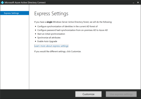 The Express Settings page on an Azure AD Connect installation towards an LDAPv3-compatible directory (click for original screenshot)