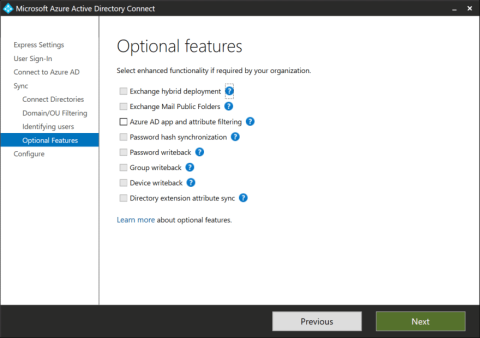 The Optional features page on an Azure AD Connect installation towards an LDAPv3-compatible directory (click for original screenshot)