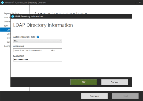 The LDAP Directory information pop-up screen to connect your directories on an Azure AD Connect installation towards an LDAPv3-compatible directory (click for original screenshot)