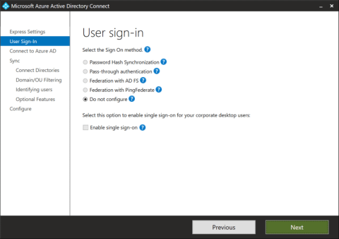 The User Sign-in page on an Azure AD Connect installation towards an LDAPv3-compatible directory (click for original screenshot)