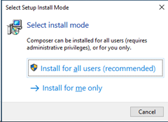 Select Setup Install Mode for Composer