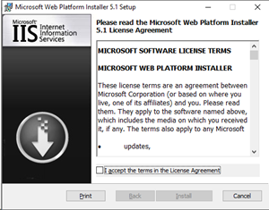 The Microsoft Web Platform Installer Setup window